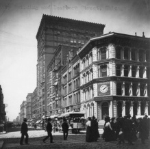 The Unity Building was located at 127 N. Dearborn Street, near the intersection of North Dearborn and West Washington Streets. It is the tallest building in this photograph from circa 1906. Courtesy of the Library of Congress.