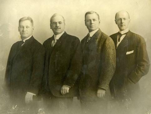 The first four Rotarians: Gustavus Loehr, Silvester Schiele, Hiram Shorey, and Paul P. Harris, circa 1905-1912.